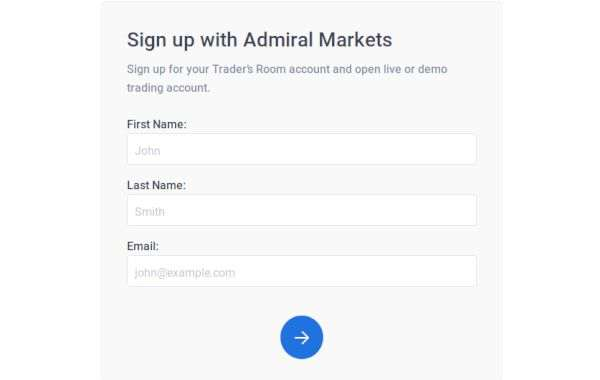 Admiral Markets account registration