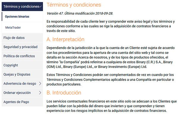 Binary.com condiciones de servicio