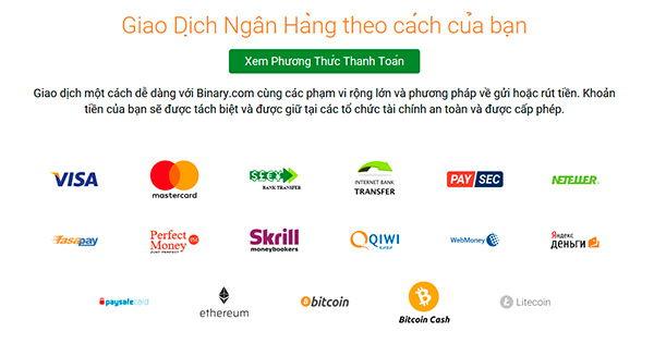 Cách nạp tiền và rút tiền tại Binary.com?