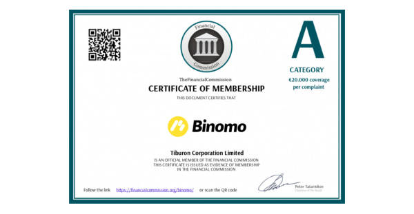 Is Binomo Reliable? Certificate A category