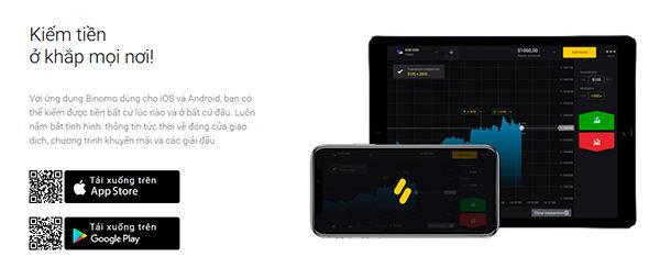 Giao dịch trên di động và app Binomo