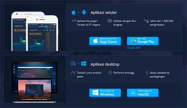 ExpertOption Platform Mobile iOS dan Andriod