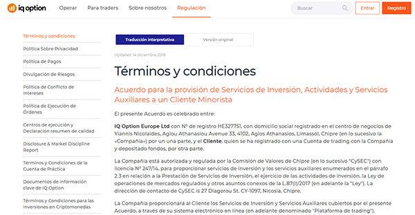 IQ Option Términos y condiciones