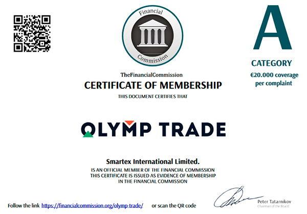 Olymptrade certificado