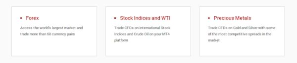 Tickmill trading instruments